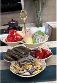 陶瓷雙層水果盤現代創意客廳歐式點心盤多層干果盤零食盤子糖果盤