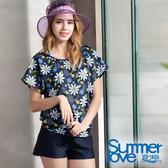 【Summer Love 夏之戀】顯瘦印花長版四件式泳裝(S19707)