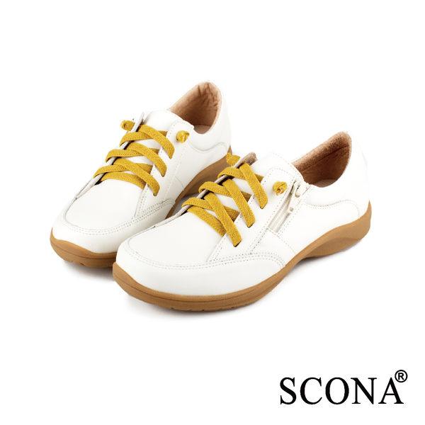 SCONA 全真皮 樂活舒適側拉休閒鞋 米白色 22414-3