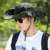 遮陽帽 漁夫帽男夏季帽子迷彩大檐遮陽帽戶外登山防曬太陽帽男士騎車旅游 爾碩 交換禮物