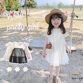 清新波點網紗連身裙 薄棉拼接 女童 寬鬆透氣短袖裙子【時尚大衣櫥】