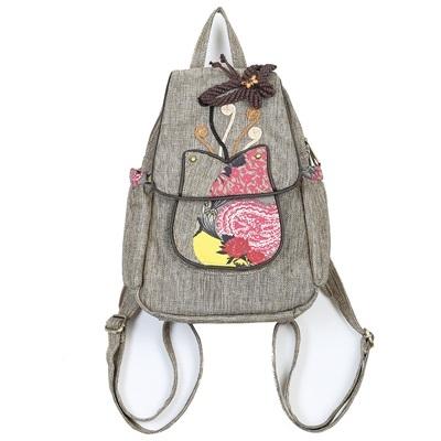 棉麻後背包-民族風手工裝飾多隔層女雙肩包6款73ws7[時尚巴黎]