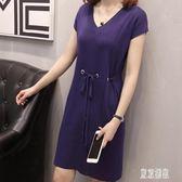 短袖洋裝 夏季V領簡約大碼連身裙胖mm韓版寬鬆遮肚顯瘦冰絲針織裙 EY6891『東京潮流』