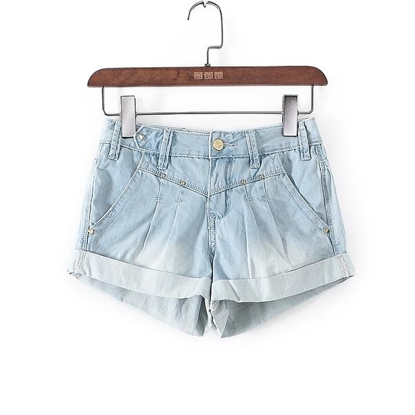 [超豐國際]愛春秋裝女裝藍色卷邊時尚利器短褲 41075(1入)