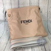 BRAND楓月 FENDI 芬迪 8BT338 粉紅色 皮革 全皮 抽繩 LOGO束口包 斜背包