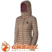 【Wildland 荒野 女款700FP連帽輕時尚羽絨衣 黃卡其】 0A32111/連帽外套/羽絨外套/保暖外套