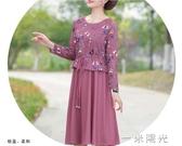 中年女春裝洋氣雪紡連身裙媽媽款春夏氣質裙子中老年裙子新款一米陽光