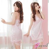 Gaoria魅惑無限性感露乳絲綢情趣睡衣睡裙粉N3-0071