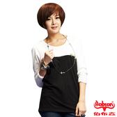 【BOBSON】女款雙配色寬版長袖上衣(33086-01)