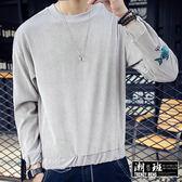 『潮段班』【HJ00R601】韓版 M-5L  秋冬袖子刺繡電繡魚絨面質感圓領長袖T恤衛衣