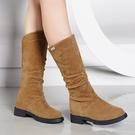 中筒靴 女春秋單靴2021秋季新款百搭平底靴子短靴騎士靴網紅瘦瘦靴 3C數位百貨