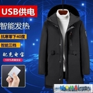 發熱外套 USB智慧充電溫控電熱棉服中長款自發熱外套全身保暖羽絨服內膽男 城市部落
