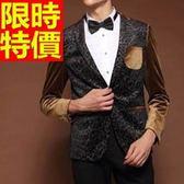韓版 西裝外套 男西服 大氣率性-精美金絲絨質感修身65b22[巴黎精品]