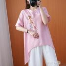 民族風上衣 夏季棉麻文藝寬鬆大碼遮肚刺繡花民族風洋氣亞麻上衣T恤短袖女 阿薩布魯