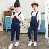男童吊帶褲 女童春裝新款春秋牛仔背帶褲男童韓版中大童3-12歲兒童長褲子 珍妮寶貝