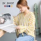 IN' SHOP韓系亮麗V領直紋撞色襯衫...