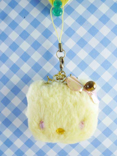 【震撼精品百貨】Hello Kitty 凱蒂貓~KITTY手機吊飾-絨毛頭黃