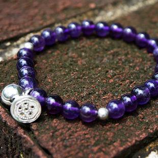 烏拉圭紫水晶單圈手鏈深紫