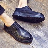布洛克男鞋雕花皮鞋男英倫內增高潮鞋厚底青年男士正韓潮流休閒鞋