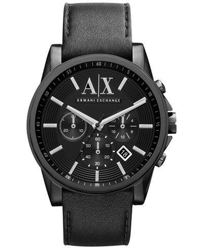 ARMANI AX亞曼尼 三眼日期窗皮革男錶 AX2098經典款式 男錶女錶對錶情侶錶 送禮