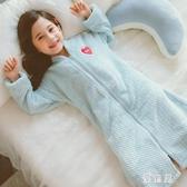 法蘭絨兒童浴袍 睡衣秋冬季加厚款女童寶寶珊瑚絨睡袍小女孩家居服 BT17377『優童屋』