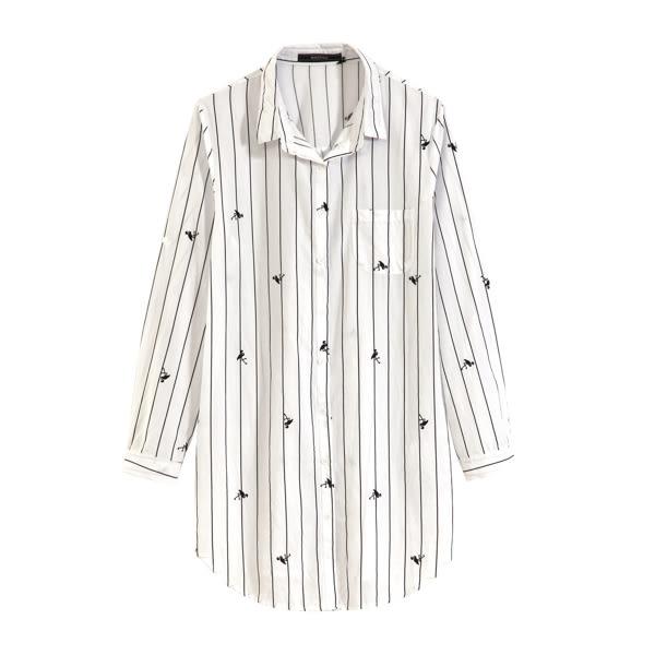 【MASTINA】鶴條紋棉質襯衫-黑 0524