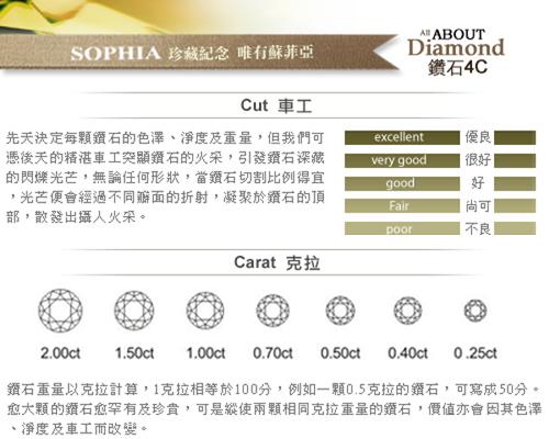蘇菲亞SOPHIA - 幸福相擁0.30克拉EVS2鑽石項鍊