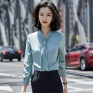 長蝴蝶領結上班職業OL長袖襯衫[20S150-PF]美之札