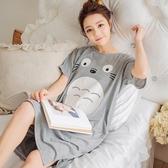 睡裙睡裙女夏季甜美可愛純棉短袖龍貓睡衣韓版清新學生寬鬆家居服快速出貨