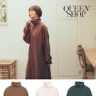 Queen Shop【01084804】高領柔棉素面長版洋裝 三色售*現+預*