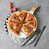 春季上新 北歐大理石西餐盤平盤木質披薩板托盤沙拉水果點心盤子創意餐具