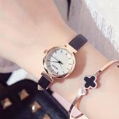 手錶女學生韓版簡約時尚潮流休閒百搭小清新細皮帶防水石英錶     初語生活
