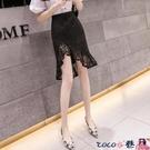 熱賣半身魚尾裙 2021早春新款女裝OL高腰中長款魚尾包臀裙女不規則性感蕾絲半身裙 coco