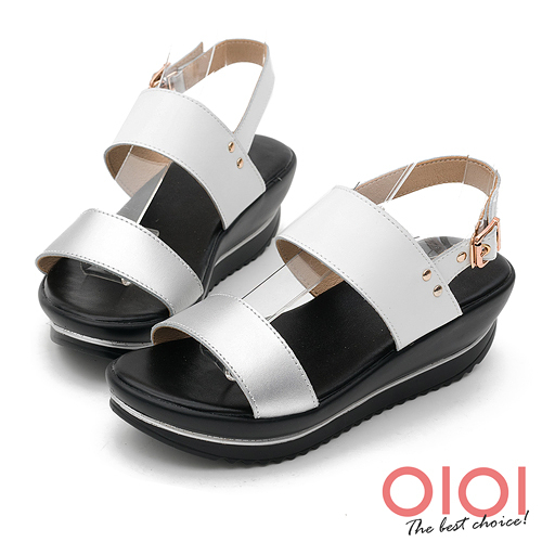 楔型涼鞋 愜意風情一字撞色真皮楔型涼鞋(銀白) *0101shoes 【18-585w】【現貨】