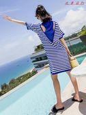 夏裝寬鬆休閒中長款T恤裙條紋連身裙