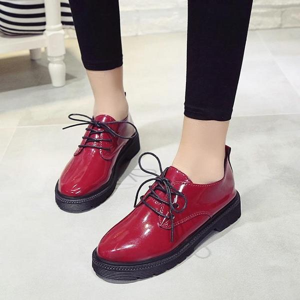牛津鞋/紳士鞋 酒紅色小皮鞋女2020年秋季新款百搭鬆糕底英倫風復古漆皮系帶單鞋