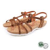 【Panama Jack】蛇紋扣帶平底女涼鞋 棕色(PSW45-BR)
