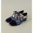 ALL BLACK 時髦撞色拼接牛津鞋-藍色