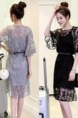 洋裝 夏季新款韓版大碼喇叭袖鏤空蕾絲連身裙中長款吊帶裙兩件套裝 交換禮物