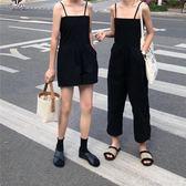 港風帥氣連體衣新款吊帶露肩直筒褲女夏純色方領露背潮版艾美時尚衣櫥