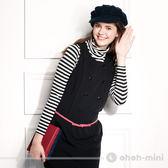【ohoh-mini孕婦裝】基本款高領條紋內搭哺乳上衣