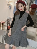 洋裝 女裝秋季針織打底衫毛呢背心裙兩件套裝裙大碼洋裝-Milano米蘭