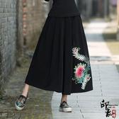 女中國民族風繡花鬆緊腰八分棉麻闊腿褲 週年慶降價