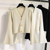 很仙的毛衣開衫早春季寬鬆短款針織外套喇叭袖薄款外搭v領上衣女