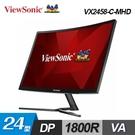 【ViewSonic 優派】24型 VA 曲面電競螢幕(VX2458-C-MHD) 【贈LED萬用燈】