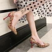 婚鞋 女紅色高跟鞋女
