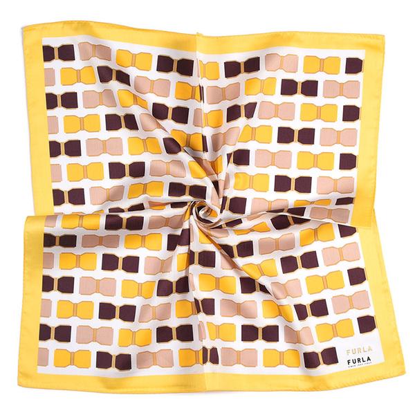 FURLA蝴蝶結幾何印花純綿帕領巾(黃色)989250-11