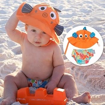 ZOOCCHiNi可愛動物尿布泳褲+遮陽帽/防曬帽-小魚-適合1-2歲幼兒 (10-13kg)