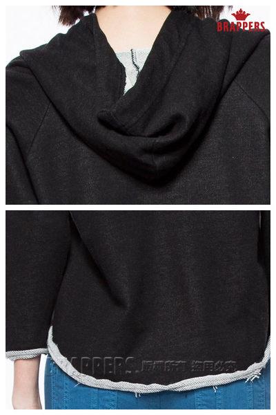 BRAPPERS 女款 洗練感印刷LOGO連帽長袖短上衣-黑