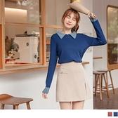 《FA2246-》配色造型領縮口袖柔軟包芯?針織上衣 OB嚴選